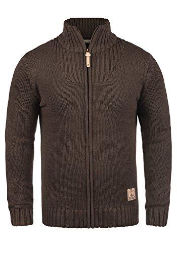!Solid Poul Herren Strickjacke Cardigan Grobstrick Winter Pullover mit Stehkragen, Größe:XXL, Farbe:Coffee Bean Melange (8973)