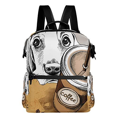 Mokale Poster Image Kaffee Plastikbecher Portrait,Laptop Rucksack Lederband Schultasche Outdoor Travel Casual Daypack