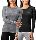 DEVOPS Women's 2 Pack Thermal Long Sleeve Shirts Compression Baselayer Tops (Medium, Black/Heather Flower)