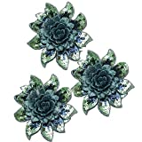 Applique Patch 3D Flower Gold Sequin Crystal Embroidered Lace Fabric Sew On Wedding Dress Cloth Accessory (Blue)