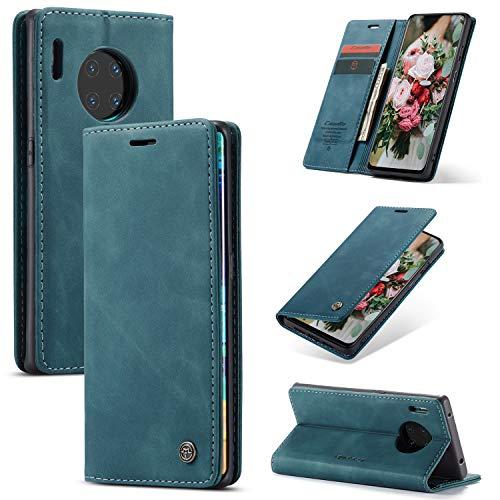 FMPC Handyhülle für Huawei Mate 30 Pro Premium Lederhülle PU Flip Magnet Hülle Wallet Klapphülle Silikon Bumper Schutzhülle für Huawei Mate 30 Pro Handytasche - Blaugrün