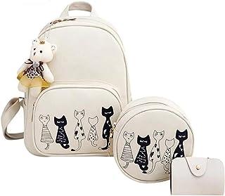 Redlicchi Fashion Girls 3-PCS Fashion Cute Mini Leather Backpack sling & pouch set for Women