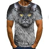 Hombre de manga corta de poliéster 3D impresión digital camiseta Cuerpo de reparación de gato-D1545||XXL