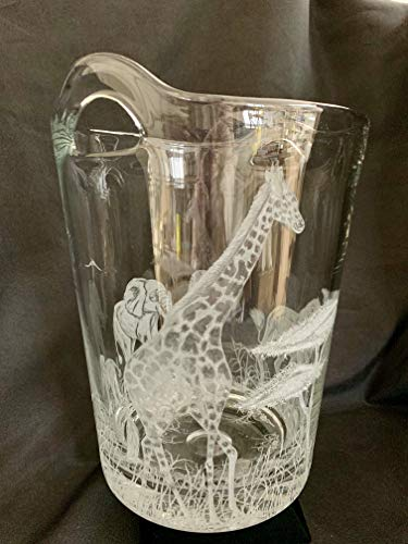 Hand Engraved Ice Bucket African Animals, Lion, Giraffe and Elephant, African Safari Scene, Engraved Bar Ware, Wedding Gifts Etched