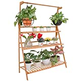 unho Bamboo Hanging Plant Stand 3 Tier Ladder Flower Rack for Garden Hanging Baskets Succulent Planters (100x40x96cm)