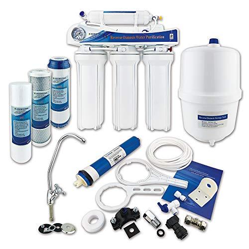 Finerfilters, sistema de ósmosis inversa de 5 etapas con eliminación de flúor (50 GPD), para el mejor agua potable