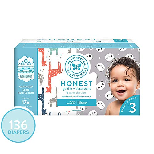 The Honest Company Super Club Box Diapers - Size 3 - Pandas & Safari Print | TrueAbsorb Technology | Plant-Derived Materials | Hypoallergenic | 136 Count