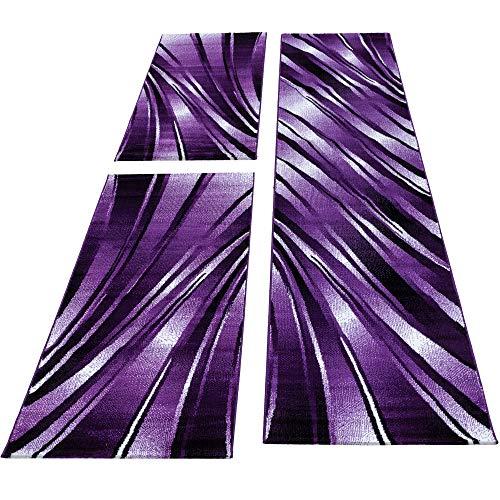 Bettumrandung Läufer Teppich Abstrakt Wellen Muster Schwarz Lila Läuferset 3 TLG, Maße:2 x 80 x 150 cm & 1 x 80 x 300 cm