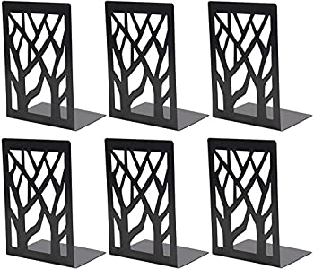 WUWEOT 3 Pair Book Ends Iron Decorative Bookends for Heavy Books Black Non-Skip Book Support Book Stopper for School Home or Office 6.9 x 4.7 x 3.5 Inches