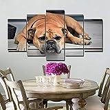sanzangtang Pintura sin Marco Impresión en Lienzo HD Decoración del hogar Pintura Animal Office 5 Dog Wall Art ZGQ1557 20x35cmx2, 20x45cmx2, 20x55cmx1