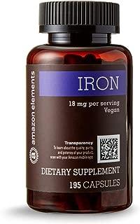 Amazon Elements Iron 18mg, Vegan, 195 Capsules, 6 month supply