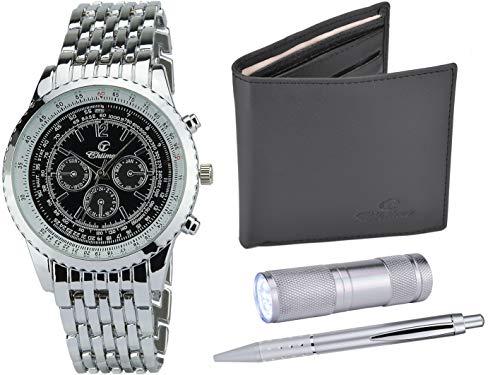 Geschenkset Herren Armbanduhr- Schwarz- LEDTaschenlampe - Brieftasche -Stift