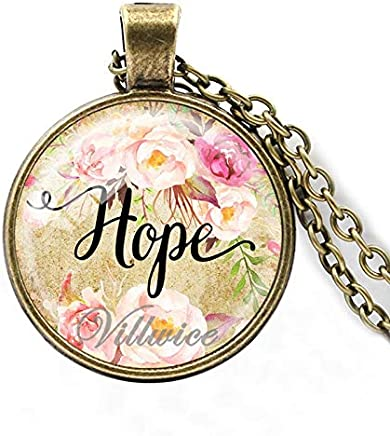 Adebie - Faith,Dream,Love,Hope,Vintage,Believe Art Letter Printed Glass Cabochon Pendant Necklace for Women Men Quote Jewelry Gifts