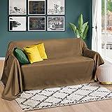 Beautissu Romantica Tagesdecke 210x280 cm - Wildleder-Optik Überdecke als Bettüberwurf und Sofaüberwurf Decke - Große Tagesdecken für Bett und Couch - Überwurfdecke in Hellbraun