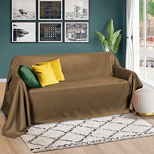 Beautissu Romantica Tagesdecke 210x280 cm - Wildleder-Optik Überdecke als Bettüberwurf & Sofaüberwurf Decke - Große Tagesdecken für Bett & Couch - Überwurfdecke in Hellbraun