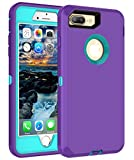 MXX iPhone 8 Plus Case | 7+ | 6+| Heavy Duty Case with Screen Protector [4 Layers] Rugged Rubber Shockproof Protection Case Cover for Apple iPhone 7 Plus/iPhone 8 Plus [5.5 inch] - Purple/Light Blue