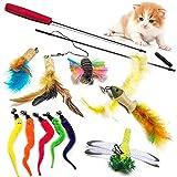 Gato Juguete interactivo juguete con plumas, Incluye 10 Recargas Plumas Bird Dragonfly Catcher for Cats Kitten