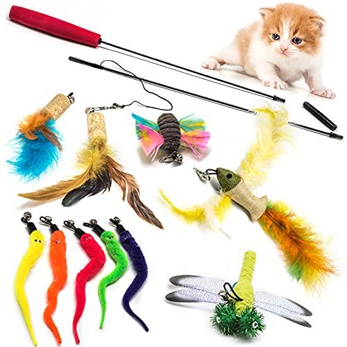 Aidiyapet Katzenspielzeug Federspielzeug Katze,Katze Teaser Zauberstab,Katzen Angel,katzenfeder,katzenangel Feder Interaktives Spielzeug mit Federn,11Befestigungen