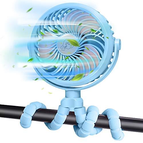 FITA Ventilador USB Ventilador Carrito Bebe, Portatil Mini Ventilador Bateria Recargable Ventilador Pinza   Rotación de 360 °, 3 Velocidades, Luces Led, 2500 mAh   para Cámping Oficina Hogar (Azul)