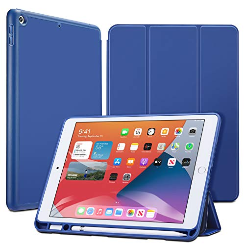ESR Case for iPad 8th/7th Gen with Pencil Holder [Trifold Viewing Stand] [Auto Sleep/Wake Cover] Rebound Series – Blue