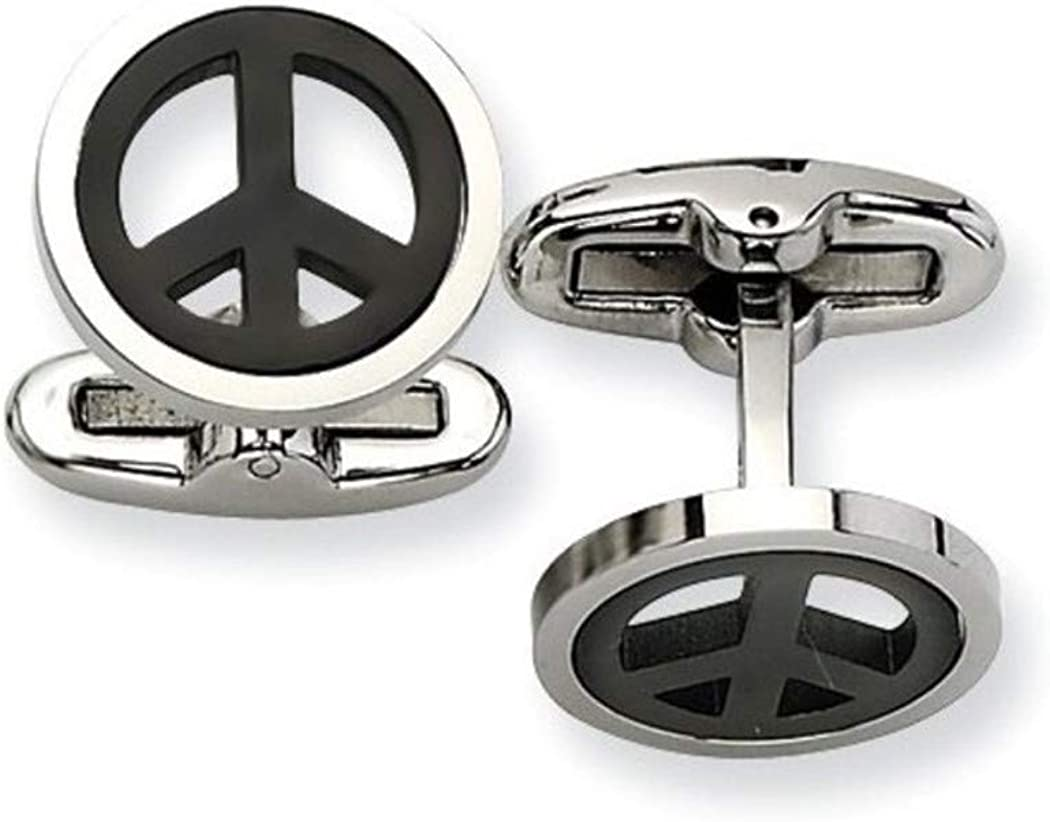 Black IP and Polished Stainless Steel Peace Symbol Cuff Links, 15MM)