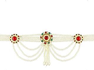 Anuradha Art Red-Green Colour Round Shape Designer Kamar-Patta Waist Chain for Women/Girls
