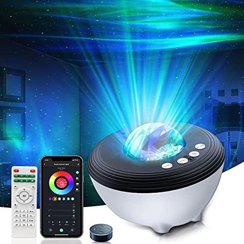 Proyector de Luz Estrellas Galaxia - LED de Luz Nocturna con Control Remoto Temporizador Altavoz Bluetooth, Luz bebé nocturna, Luces Decorativas Habitacion Fiesta