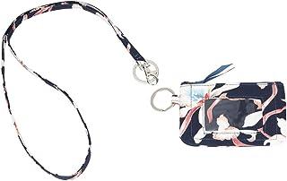 Leanoria Womens Lanyard with Wallet Zip ID Card Case Badge Holder Office Lanyards (Dark Blue Flower)