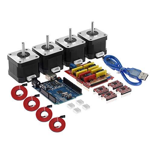 Entweg CNC Shield, CNC Shield V3.0 Erweiterungskarte UNO R3 Karte 4 * A4988 Treiber 4 * 4401 Schrittmotorsatz mit Kühlkörper-USB-Kabel für 3D-Drucker