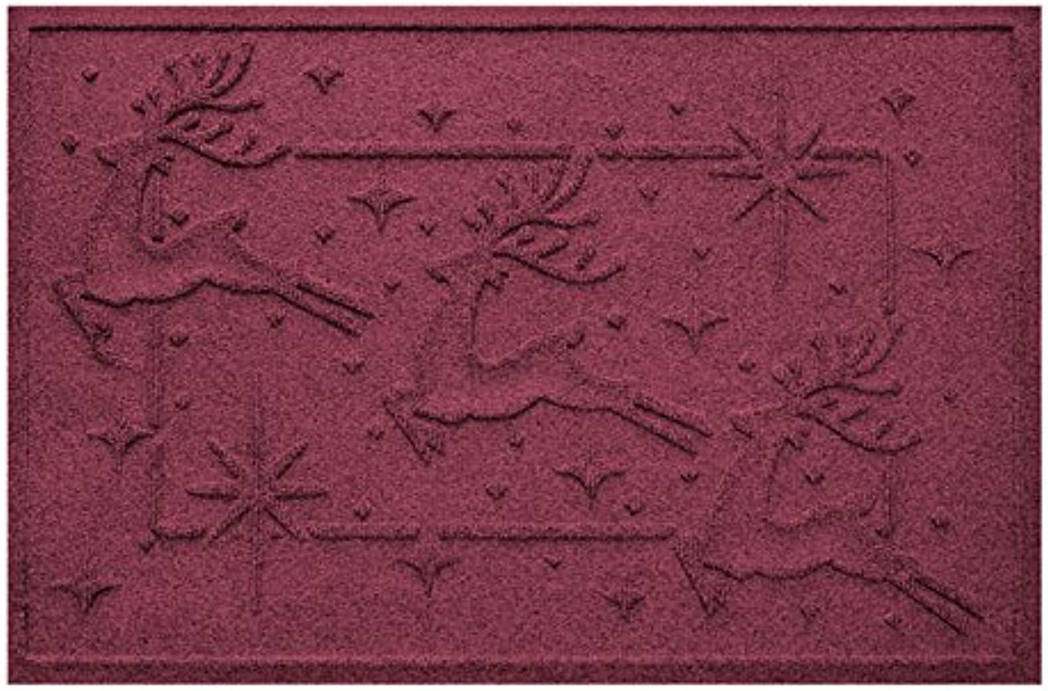 Aqua Shield Reindeer Row Mat, 2  x 3 , Bordeaux