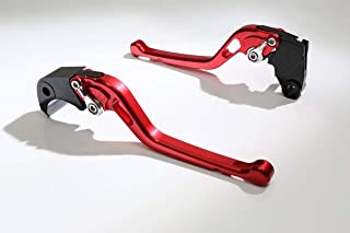 Autobahn88 Motorcycle Clutch + Brake Lever Set for Hyosung : GT250R (2006-2016) (Long Style : Red+Silver/Handle+Adjuster)