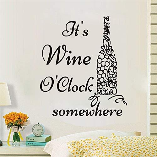 Wandaufkleber Es Ist Wein, Den Ich Uhr Irgendwo Traube Weinflasche Küche Aufkleber
