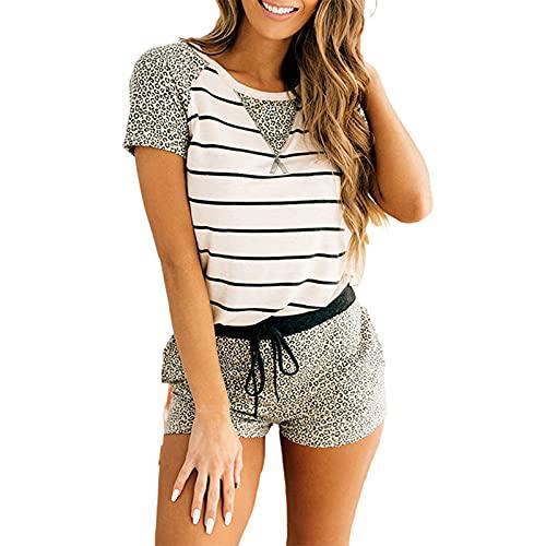 SLYZ Pijamas De Costura De Rayas De Leopardo A La Moda De Verano para Mujer, Traje De Dos Piezas, Pantalones Cortos con Cordón para Mujer + Camiseta Superior
