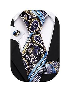 Barry.Wang Mens Blue Tie Silk Paisley Black Wedding Formal Business Striped Necktie Handkerchief Cufflinks Set