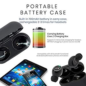 Smart Bluetooth Earbuds for iPhone & Android - True Wireless Bluetooth 5.0 Headphones w/Noise Cancelling, 3D Stereo Sound, Mic & Portable Charging Case