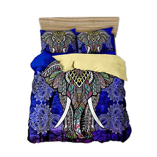 Bohemio Elefante Diseño étnico Exótico Ropa de Cama Negro Blanco Azul Rojo Violeta Juego de Cama Funda nórdica y Funda de Almohada (Azul, 150x200 cm-Cama 90 cm)