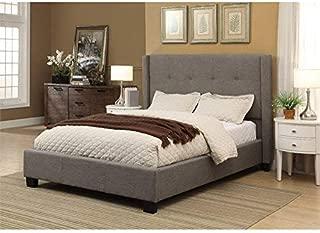 Modus Furniture Madeleine Linen Wingback Platform Bed, California King, Dolphin