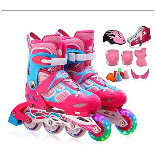 Taoke Inline-Skate, mit veränderbarer Länge und Blitze leuchten Rad, Bunte Entwurfs- for Kinder, Anfänger (Farbe: A, Größe: 31-36code) dongdong (Color : A, Size : 3136code)