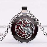 Collar de la canción del hielo y el fuego Juego de Tronos para casa Targaryen Tótem Art Foto Cabujón Colgante Collar de cristal