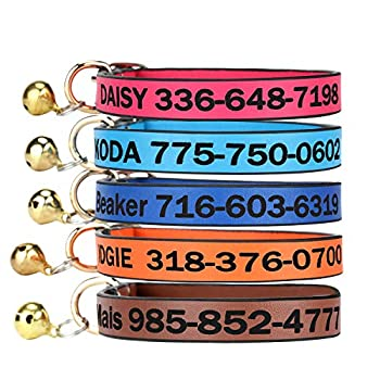 Leather Cat Collar,Custom-Personalized Cat ID Collar Engraved with Name and Number with Bell Size Adjustable for Girl Boy Cats Kitten