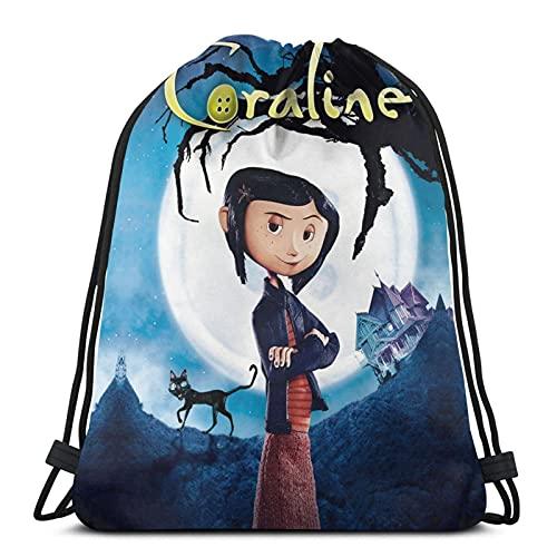 Coraline - Mochila unisex para niños y niñas, con cordón para la escuela, bolsa de viaje