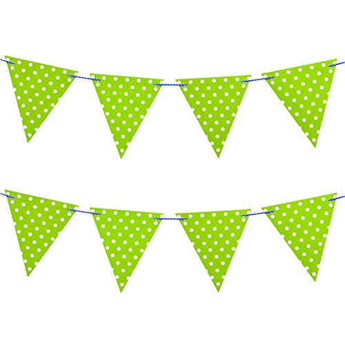 Milopon Party Banner Bunting Pennant Paper Flags Garlands Polka Dot Decoration 9.8 Feet 12pcs Green