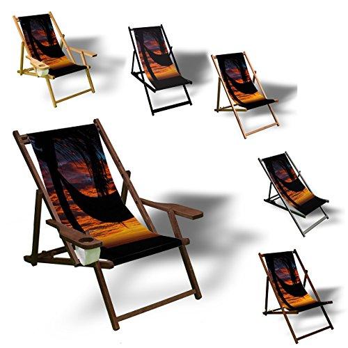 Printalio - Palme Hängematte - Liegestuhl Bedruckt Balkon Garten Sonnenliege Relax Holz Terrasse | mit Armlehne, Dunkelbraun