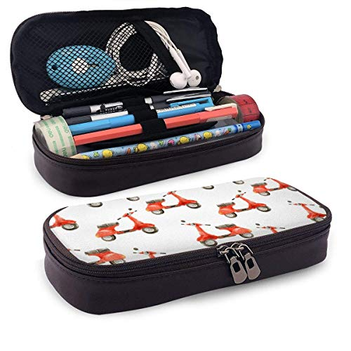 Lawenp Watercolor Seamless Pattern with Scooter Leather 3D Nano Printed Pencil Case Pouch Zippered Cute Pen Pencil Case Box School Supply for Students,Big Capacity Stationery Box for Girls Boys and