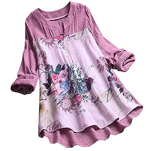 Tops Mujer Shirt Mujer Suelto Cómodo Lino Escote En V Manga Larga Moda Estampado Floral Vacaciones Retro Casual Dulce Mujercamisa Mujer Camiseta B-Purple 3XL
