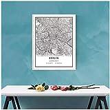 SYBS Cartel de la impresión del Mapa de Berlín del Mundo de la Pintura de la Lona en la Lona  Mapa de la Ciudad de berlín impresión en lienzo-51x70cm1pcs sin Marco