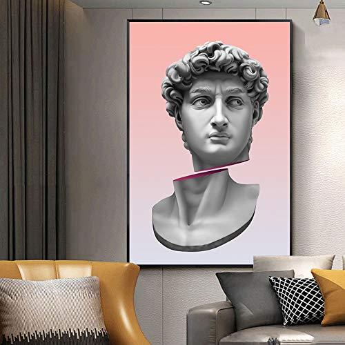 Vaporwave Escultura David Retrato Estatua Lienzo Pintura Carteles e impresiones Imágenes divertidas modernas en el arte de la pared Decoración del hogar A356 70x100cm