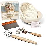 Bighorn Exchange Banneton Proofing Baskets Set of 2 - Banneton Set - Sourdough Starter Bread Baking Kit - Baking Gifts - Bread Bowl - Bread Proofer - Whisk - Bread Lame Tool - Sourdough Proofing Basket