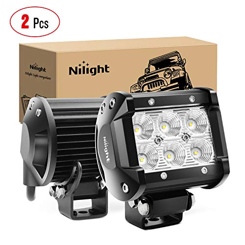 "Nilight 60001F-B Bar 2PCS 18w 4"" Flood Fog Road Boat Driving Led Work Light SUV Jeep Lamp, 2 Years Warranty"