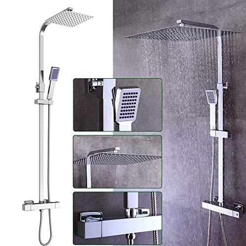 DiLiBee Duschpaneel Edelstahl Dusche Regendusche Set Duschsäule mit Thermostatmischer Niagara Shower Mixer und Soffion 40 * 40cm